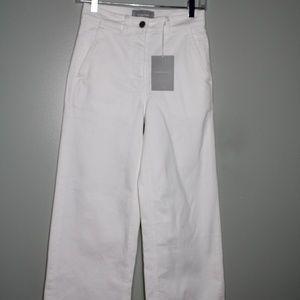 everlane women white wide leg crop pant SZ 2